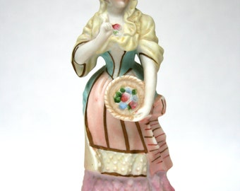 Bisque figurine lady,  Lady with basket of flowers, Vintage figurine, collectibles