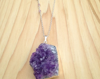 Silver Dipped Amethyst Druzy Long Necklace with Unique Strung Crystal Chain