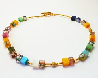 Gold little cubes necklace, gold, yellow, multi