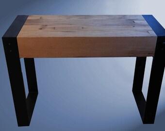 Coffee table oak console table, reclaimed oak beams, steel legs