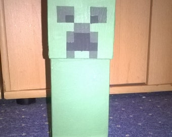 Minecraft inspired Creeper wooden figure decoration