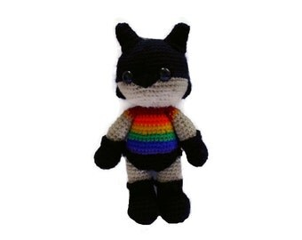 MADE TO ORDER -Pride lgbt Superhero Amigurumi Crochet Doll, Rainbow crochet, cute and colourful crochet
