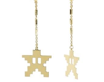 Earrings GAME_STAR / earring gold plated, earrings star, earrings geek