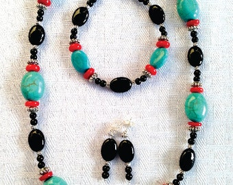 Necklace Turquoise Coral Black Onyx