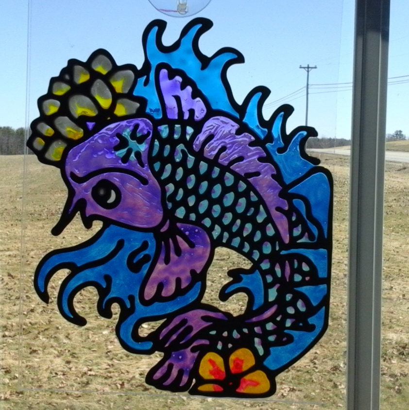Koi fish sun catcher purple by ariesmooncrafts on etsy for Purple koi fish