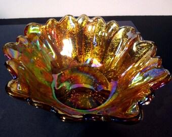 Carnival glass sunflower bowl
