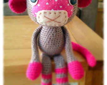 Girl Monkey, Crochet Monkey, Stuffed Toys, Amigurumi Monkey