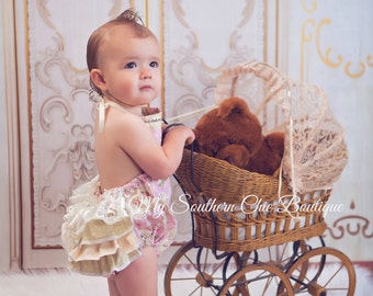 Floral Bubble Romper- Baby Girl Romper- Tea Party Romper- Sun suit
