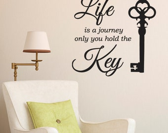 Life Is A Journey Wall Sticker - includes vintage key decal