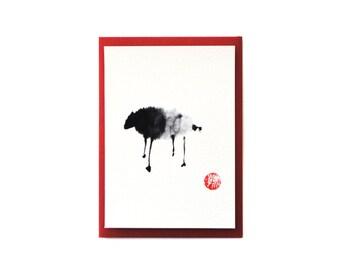 Chan Ink Painting 'Sheep' Art Card