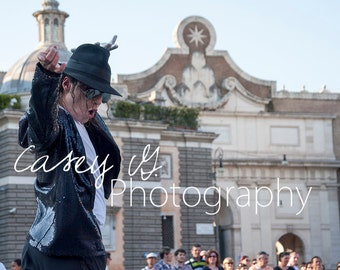 Michael Jackson Street Performer 1 - Italian Street Phtoography Print and Canvas