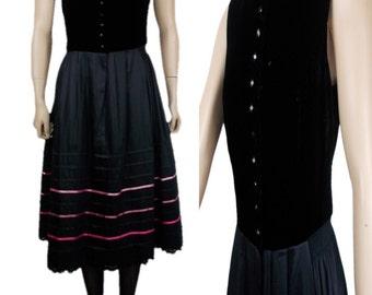 Sportalm Kitzbuhel Austria Sleeveless Button Front Dress Velvet Bodice Black with Pink Ribbon Trim UK 12/14