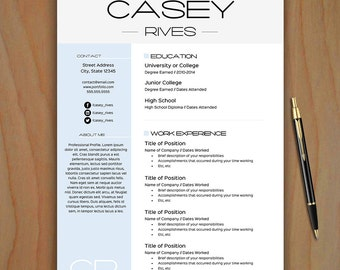 Stylish Resume Template Free Cover Letter EASY to EDIT
