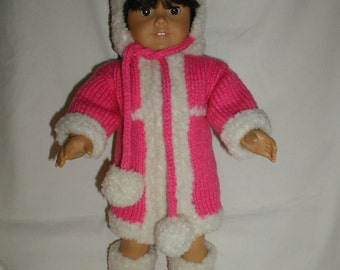 """Hand Knit Pink Winter Coat, Hat and Boots for 18"""" Dolls"""