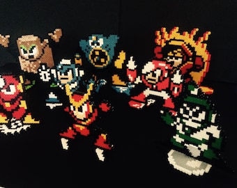 Mega Man 2 Perler Bead Robot Masters - With Stands