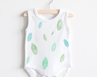 Baby Onesie - Baby Bodysuit - Romper - Hand stamped - Leaves