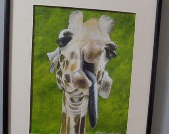 Giraffe Feeling Bad after having too much to drink acrylic painting print