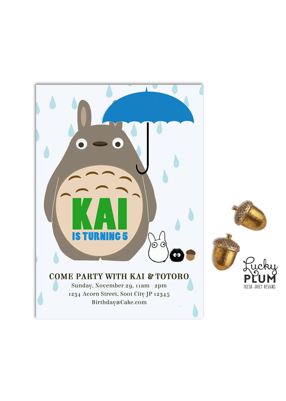 Totoro Birthday Invitation Ghibli Anime Japanese Invite - Birthday invitation in japanese