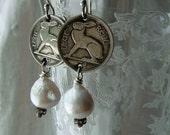 Vintage Irish Ireland Rabbit Coin Earrings Coins Bunny Hare Kasumi like Edison White Pearl Dangle Several Dates