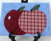 On Sale Apples Quilted Fabric Postcard, Fiber Art, apples Mini Quilt, Apple Greeting card, cheerful Apple Card, Apple get well card, apple