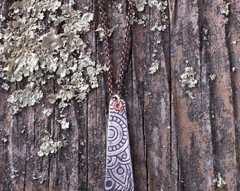Fine Silver Metal Clay Pendant - Tribal Pattern - NS108