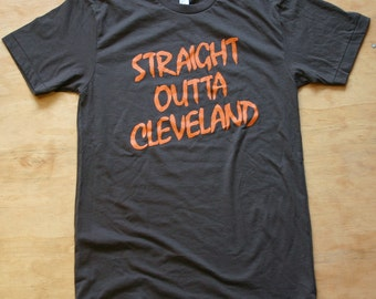 Straight Outta Cleveland Mens Screenprinted Tshirt, Browns