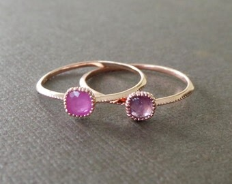 Petite Square Pink Sapphire 22k Rose Gold Vermeil Stacking Ring Birthstone Ring Understated Delicate Petite Rings Simple Modern Jewel