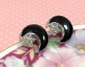 Celestial Earrings, Moon and Star Earrings, Black Moon Earrings, Silver Star Earrings, Moon Stud Earrings, Star Stud Earrings  (SE4)