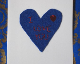 I Love You Card - Hand stitched romantic greetings card