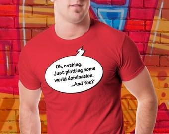 Funny Evil Genius T-shirt Plotting World Domination Shirt Super Villain tshirt Comic Book Tee Bad Guy Gift For Him Evil Boyfriend Girlfriend