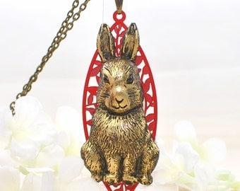 Golden Bunny Necklace Goldie Rabbit - Bunny Pendant - Rabbit Jewelry - Bunny Rabbit Inspired