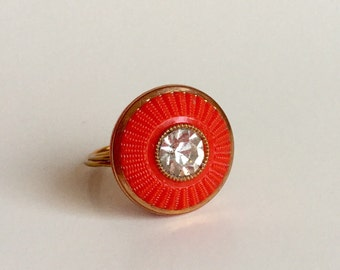 Red Rhinestone Button Ring - Vintage Tomato Red Textured Glass Button Bright Clear Rhinestone Center - Wire-Wrapped Gold Wire - Custom Size