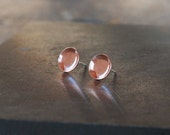 Copper Cup Earrings, Copper Studs, Everyday Earrings, Copper Earrings, Modern Design, Sterling Silver Post, Handmade Jewelry