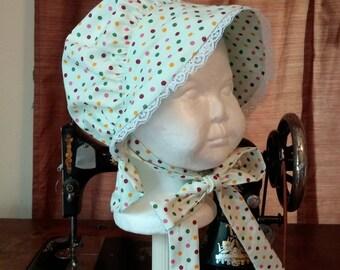 Baby Bonnet, Polka Dot Sun Hat, Size 6-12 Months
