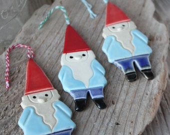 Handmade Pottery Gnome Ornament - Ready to Ship in 2-3 weeks