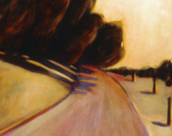 Bend in the road - art print of original oil painting - California landscape painting