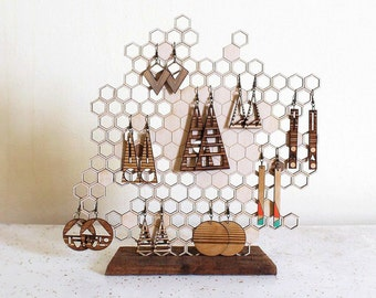 Honeycomb Jewelry Display - Earring and Necklace Holder