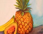 Tropical Fruit watercolors paintings original, pineapple. banana. payapa Original watercolor painting of tropical fruit, kitchen art