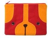 Puppy Dog Zipper Pouch in Red
