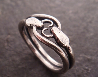 Double Ouroboros Snake Ring in Sterling Silver