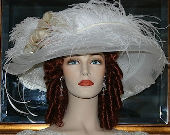 Edwardian Hat Ascot Hat Kentucky Derby Hat Wide Brim Tea Hat Titanic Hat Somewhere in Time Hat Downton Abbey Hat White Hat - Lady Ophelia