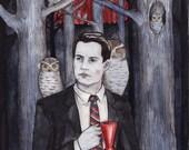 Owls, Twin Peaks art print by Johanna Öst