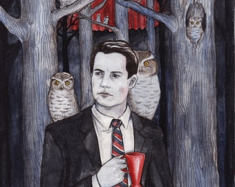 Owls, Twin Peaks art print by Johanna Öst
