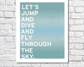 Skydiving Print Parasailing Hang Gliding Poster Bungee Jumping Art Adventure Nursery Wall Quote Parachuting Blue Sky Diver Gift Daredevils