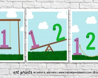 Playroom Wall Art Set of 3 Prints Toddler Boy Room Decor Gender Neutral Nursery Numbers Posters Preschool Picture Daycare Sign Counting Idea