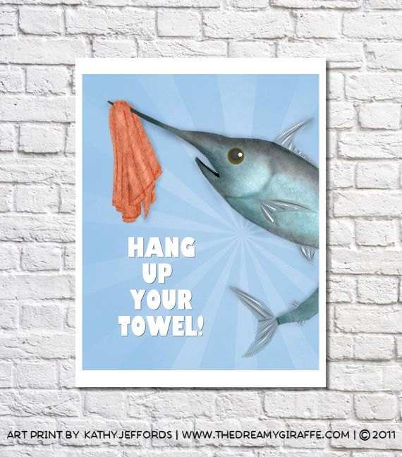 Fish Bathroom Decor Whimsical Fish Art Swordfish Pictures Wall