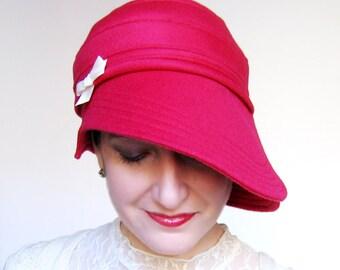 Rose Red Wool Cloche Womens Cloche Hat Handmade Red Hat Modern Millinery Womens Hats Trendy Sewn Fabric Hat Minimalist Design : Sweetheart