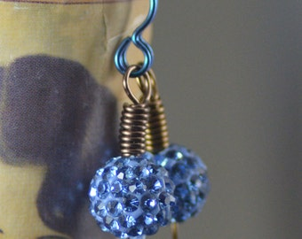 Sparkly Sky Blue Swarovski Crystal Pave Bead Niobium Antiqued Brass Earrings