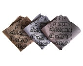 Lorem Ipsum pocket square. Cicero placeholder text, men's handkerchief. Perfect writer, author or graphic designer's literary gift.