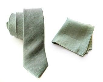 "Mint green linen necktie. Silk & linen blend woven men's tie. ""Spirit of Detroit."" Bias cut, rustic necktie. Pocket squares available too!"